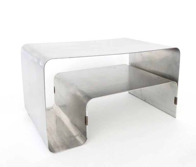 Folded and Brass Clipped Steel Coffee or Side Table by Joelle Ferlande for Kappa In Good Condition For Sale In Chicago, IL