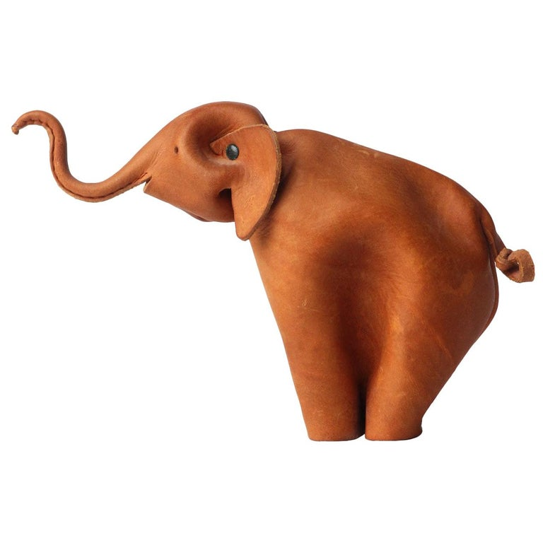 Folded Leather Elephant by Deru