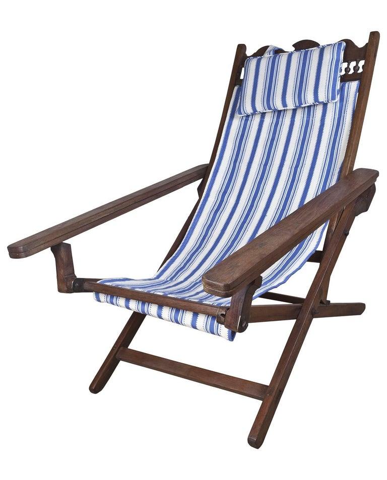 Folding Adjustable Sling Back Plantation Chair With