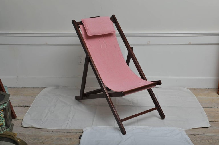 20th Century Folding and Adjustable Sling-Back Lounge Chair, 1940s British Campaign For Sale