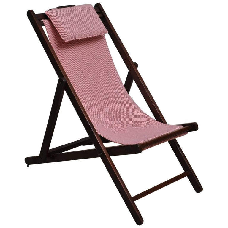 Folding and Adjustable Sling-Back Lounge Chair, 1940s British Campaign For Sale