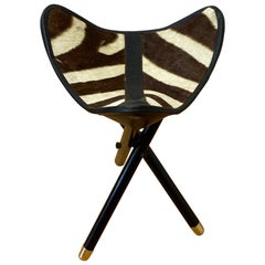 Folding Campaign Hunting Seat with Genuine Zebra Hide, C.1970