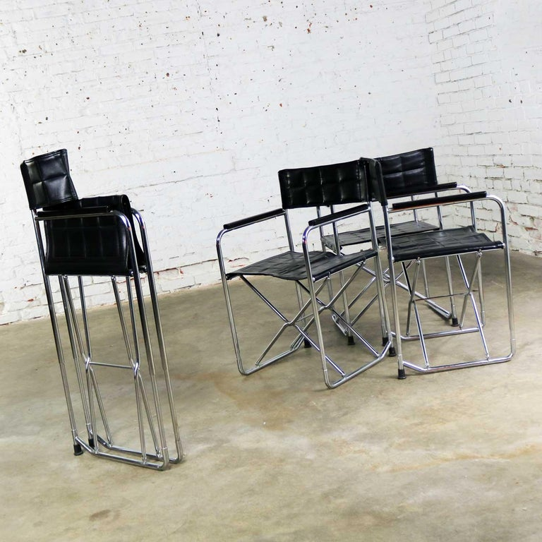 Folding Campaign Style Director's Chairs Black Vinyl & Chrome Style Gae Aulenti For Sale 5