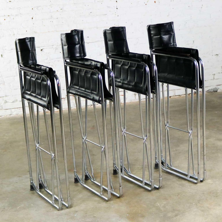 Folding Campaign Style Director's Chairs Black Vinyl & Chrome Style Gae Aulenti For Sale 6
