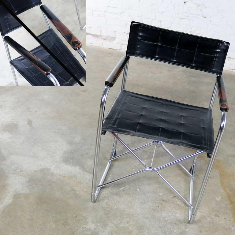 Folding Campaign Style Director's Chairs Black Vinyl & Chrome Style Gae Aulenti For Sale 7