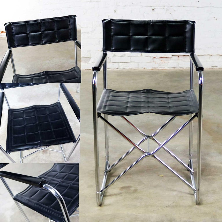 Folding Campaign Style Director's Chairs Black Vinyl & Chrome Style Gae Aulenti For Sale 8