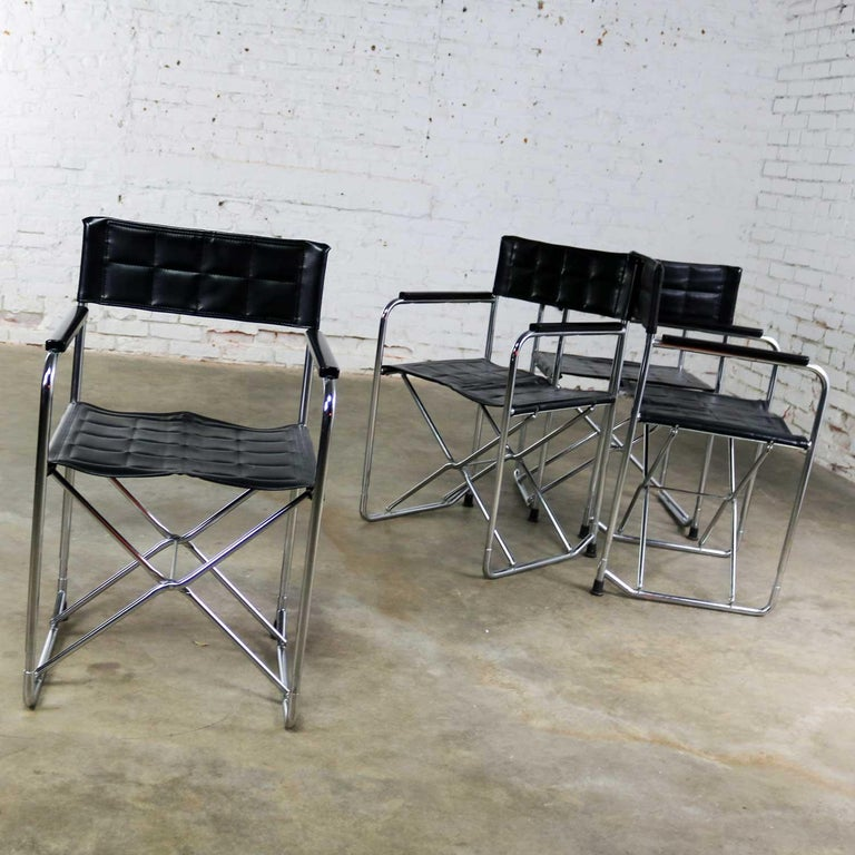 Japanese Folding Campaign Style Director's Chairs Black Vinyl & Chrome Style Gae Aulenti For Sale