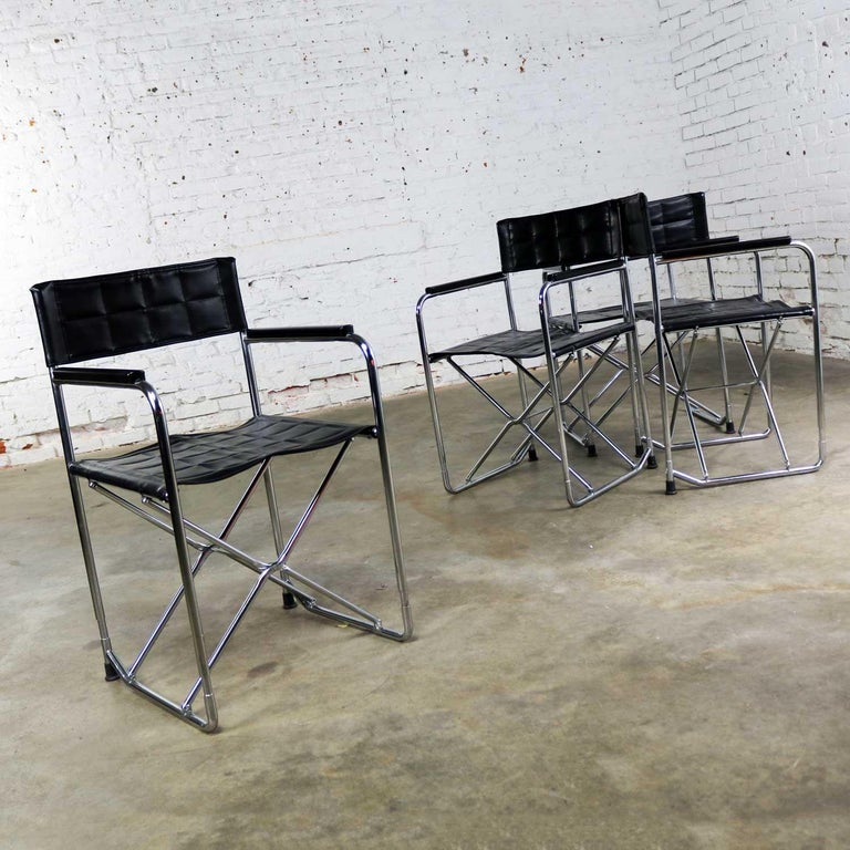 Folding Campaign Style Director's Chairs Black Vinyl & Chrome Style Gae Aulenti In Good Condition For Sale In Topeka, KS