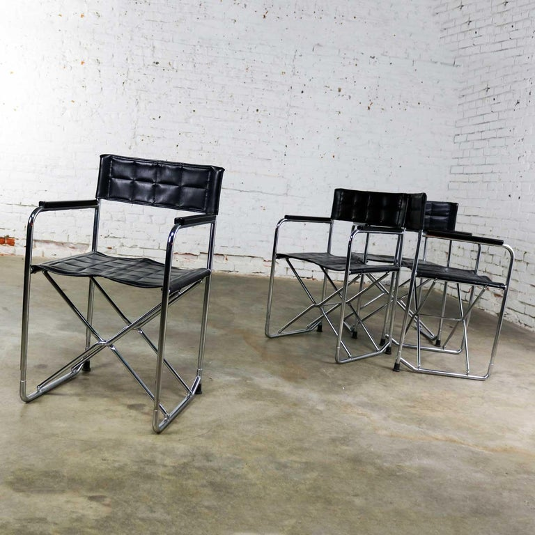 20th Century Folding Campaign Style Director's Chairs Black Vinyl & Chrome Style Gae Aulenti For Sale