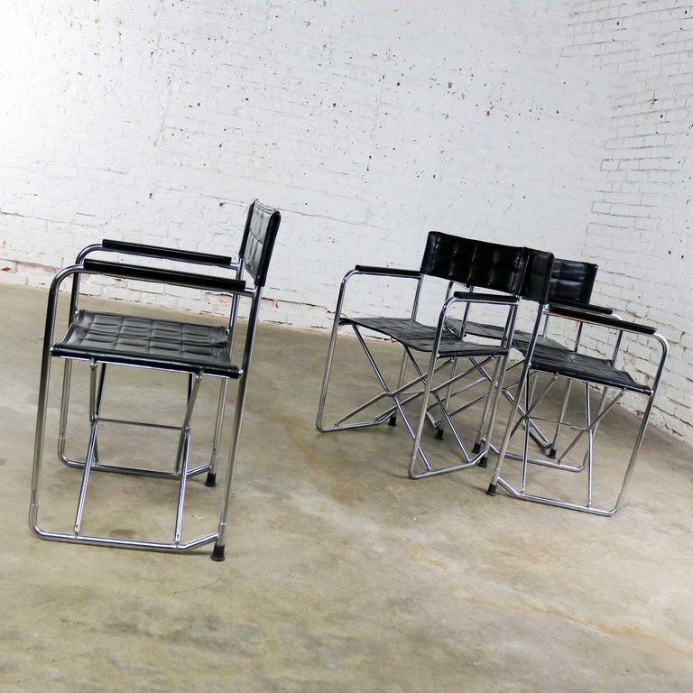 Folding Campaign Style Director's Chairs Black Vinyl & Chrome Style Gae Aulenti For Sale 1