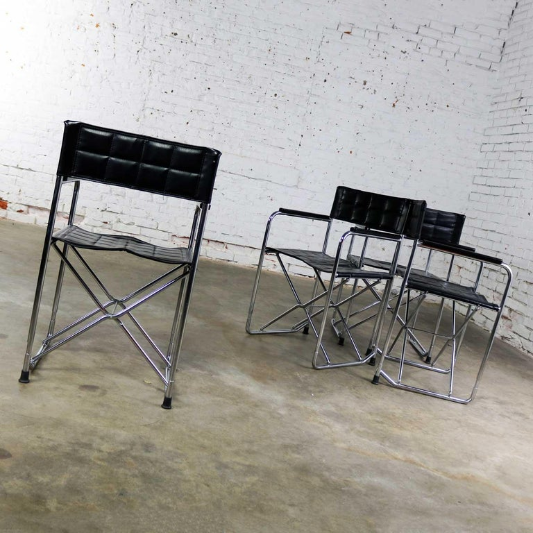 Folding Campaign Style Director's Chairs Black Vinyl & Chrome Style Gae Aulenti For Sale 2