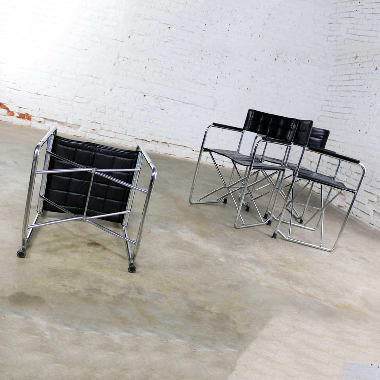 Folding Campaign Style Director's Chairs Black Vinyl & Chrome Style Gae Aulenti For Sale 4