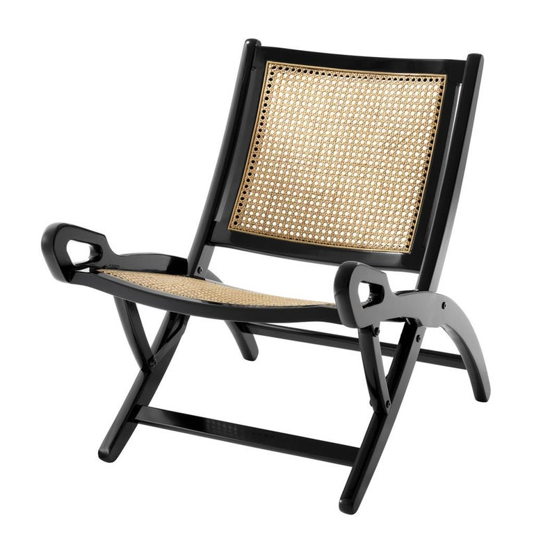 Folding Cane Rattan and Blackened Mahogany Folding Lounge Chair For Sale