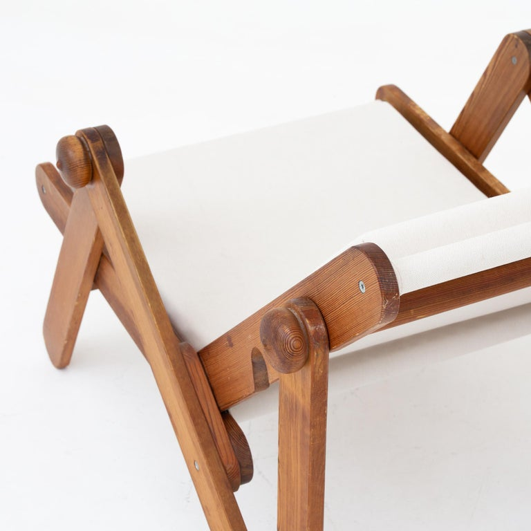 20th Century Folding Chair in Patinated Pine