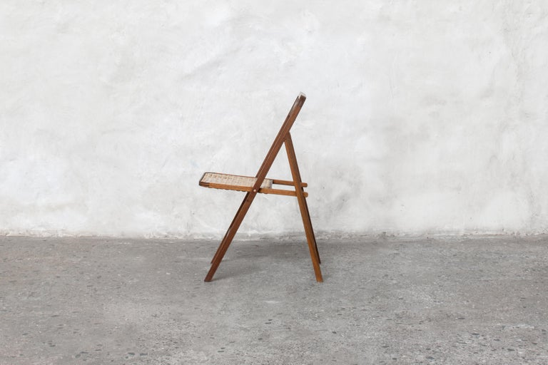 Indian Folding Chair in Teak or with Woven Seat in Cane Handmade by Studio Mumbai For Sale