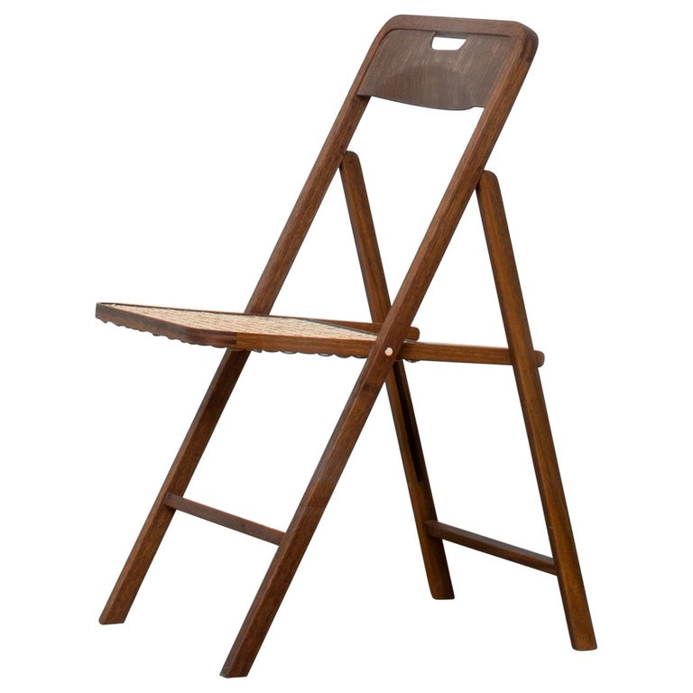 Folding Chair in Teak or with Woven Seat in Cane Handmade by Studio Mumbai For Sale