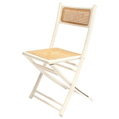Folding Chair in White Lacquered Wood with Webbing Seat and Backrest 1960s-1970s