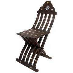 Folding Chair with Shell Inlay, Syrian 19th Century