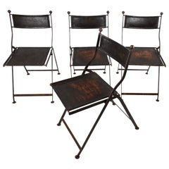 Folding Chairs, Leather, France, 1920s-1930s