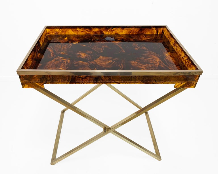Folding Coffee Table Lucite Turtle Butler Serving Tray