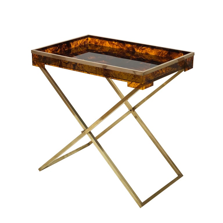 Tray Coffee Table Sale: Folding Coffee Table, Lucite Turtle Butler Serving Tray