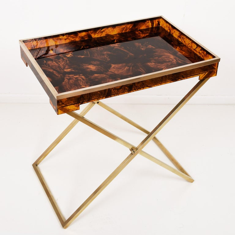 Folding Coffee Table, Lucite Turtle Butler Serving Tray