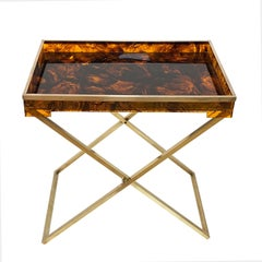 Folding Coffee Table, Lucite Turtle Butler Serving Tray, Rizzo Style, Italy