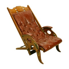 Folding Colonial Campaign Chair, J Herbert McNair, Reclining Anglo-Indian