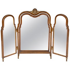 Folding French Dressing Table Mirror with Gilt Decoration