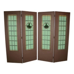 Folding Leaded Glass Doors, Set of Four, circa 1900