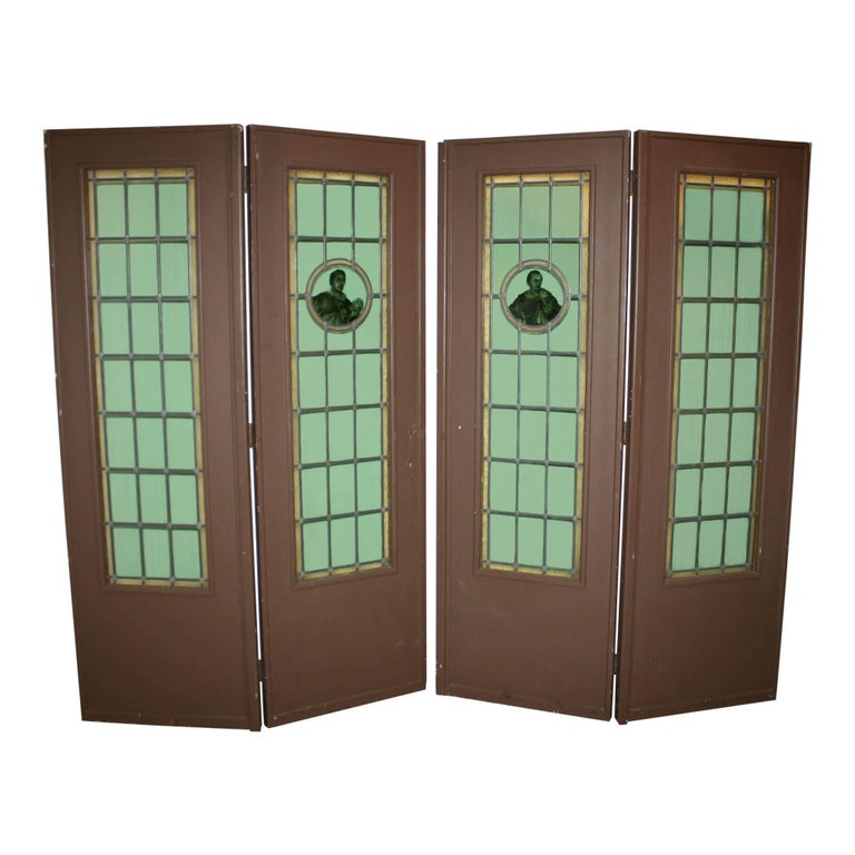 Folding Leaded Glass Doors Set Of Four Circa 1900 For Sale At 1stdibs