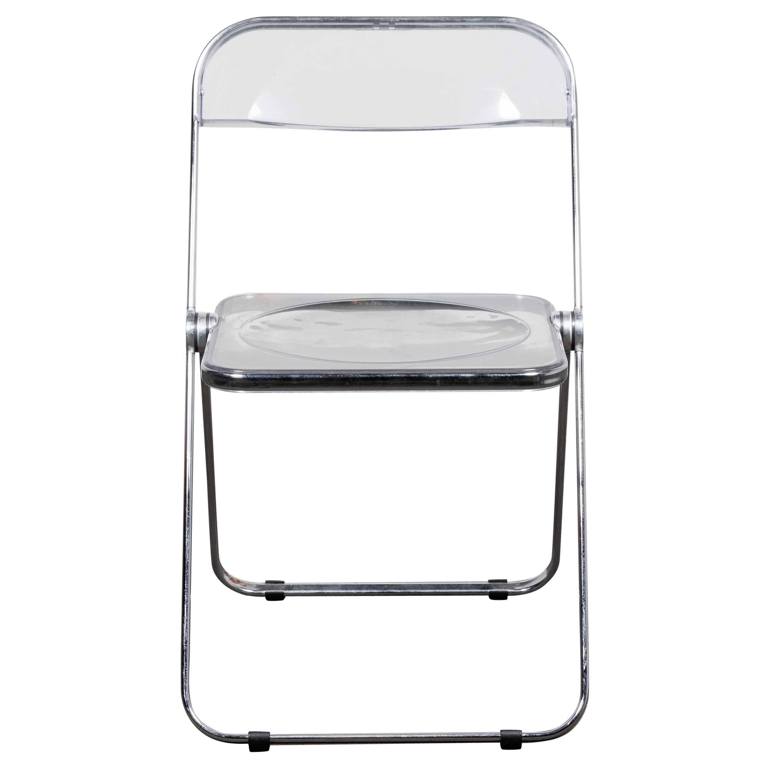 """Folding Lucite """"Plia"""" Chair by Piretti for Castelli, Italy"""