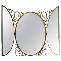 Folding Mirror with Decorative Brass Frame in the Style of Gio Ponti Italy 1950s