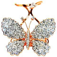 Folding Moving Butterfly Rose Gold 18 Karat White Diamonds Cocktail Ring