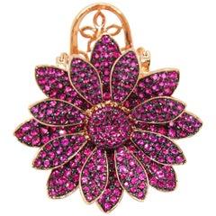 Folding Moving Petals Rubies 18 Karat Gold Cocktail Ring