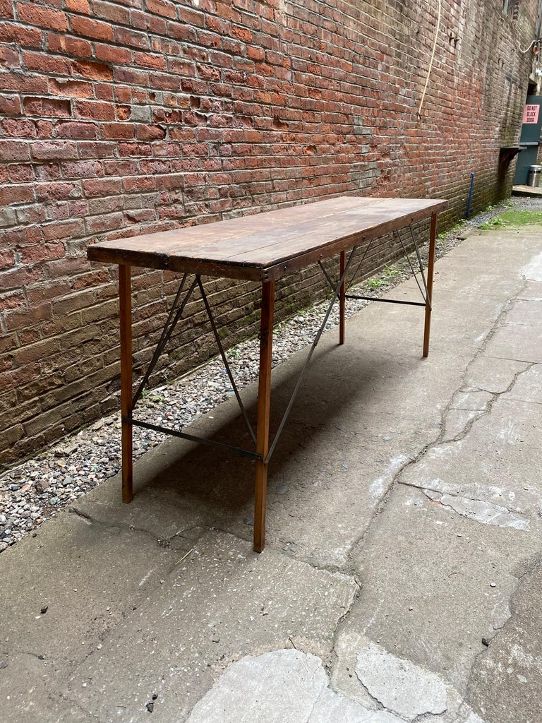 Industrial Folding Paper Hanger Table, 1920s For Sale