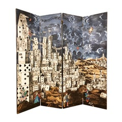 "Folding Screen ""Citta' di Carte"" by Piero Fornasetti"