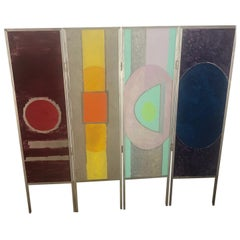 "Folding Screen in Metal Painted and Signed ""Le Songe"" 'the Dream' Four Panels"