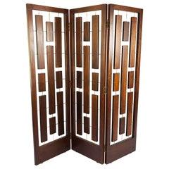 Folding Screen Room Divider in Solid Mahogany