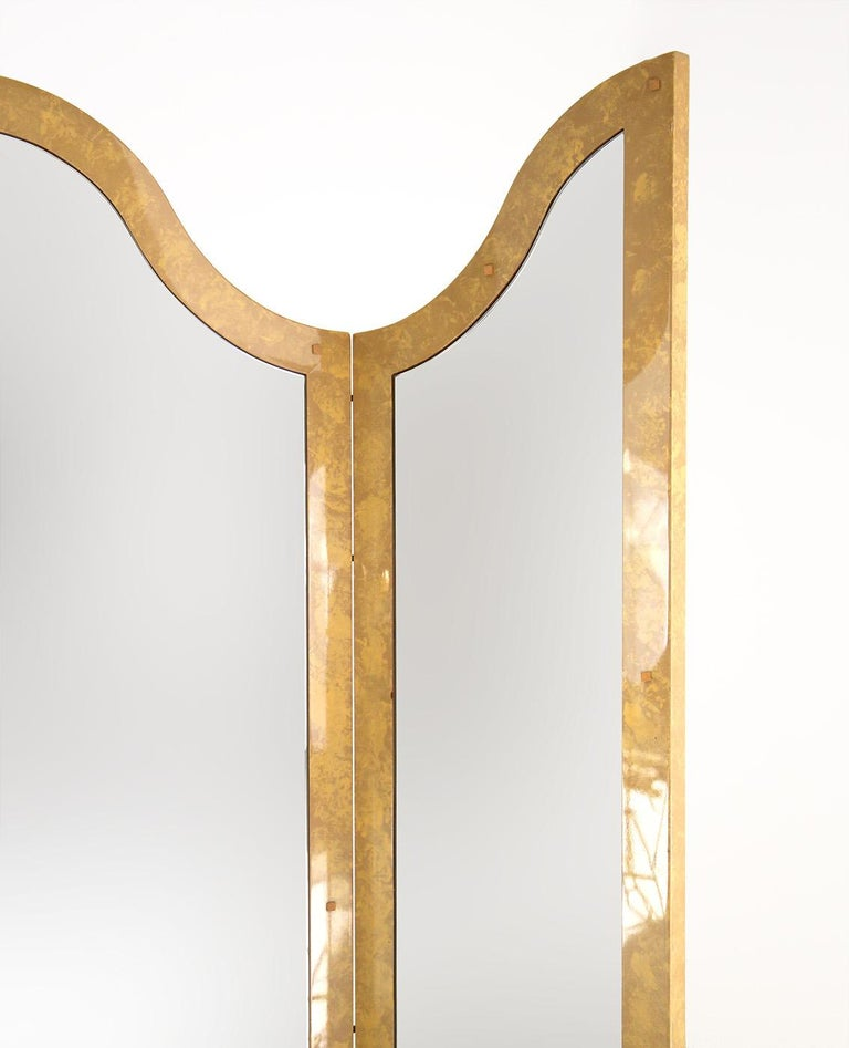 Folding Screens Italian by Giorgio Tura with Mirror in Lacquered Wood, 1970s In Good Condition For Sale In Milano, IT