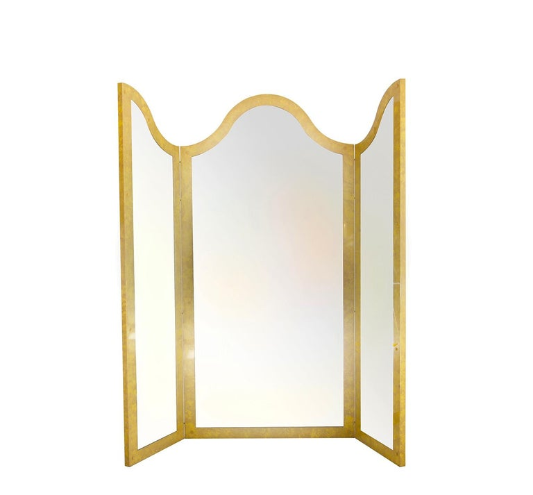 Folding Screens Italian by Giorgio Tura with Mirror in Lacquered Wood, 1970s For Sale 2