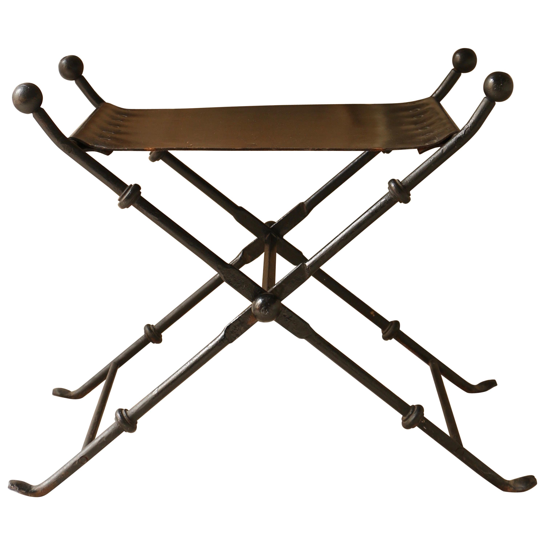 Folding Stool, Black Leather Seat