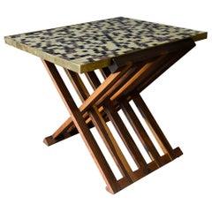 Folding Tile Top Table by Edward Wormley for Dunbar, circa 1960