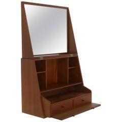 Folding Wall-Mounted Vanity in Teak by P. Jensen and Knud Frandsen