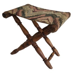 Folding Wood and Tapestry Stool, French, circa 1900