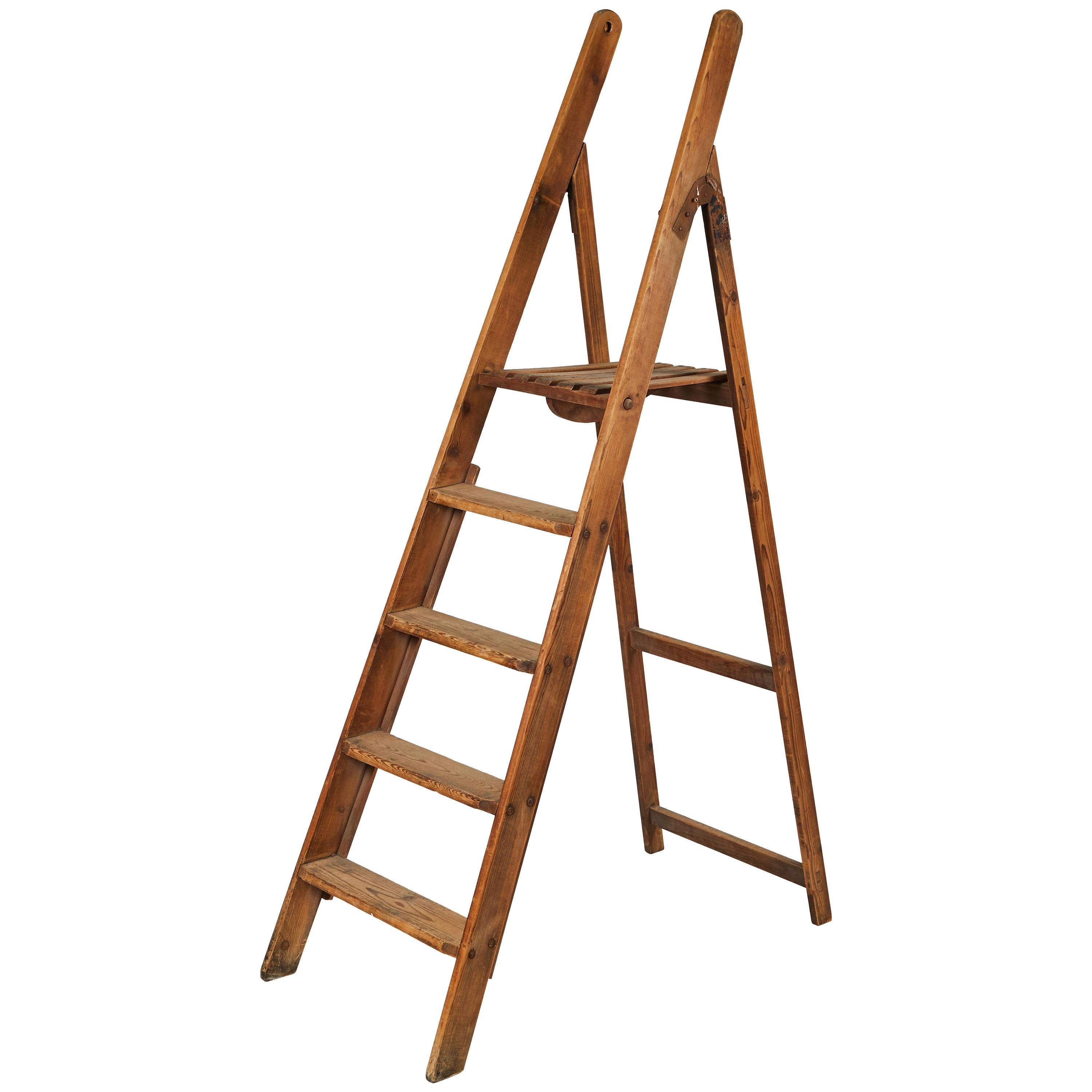 Folding Wooden Library Ladder from Late 19th Century France