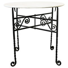 Folding Wrought Iron and Marble Top Small Table