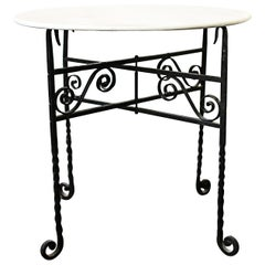 Small White Marble-Top and Folding Wrought Iron Accent Tables