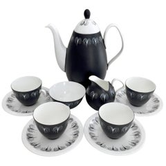 "Foley Porcelain Coffee Service, Black and White ""Domino"" Midcentury, ca 1960"