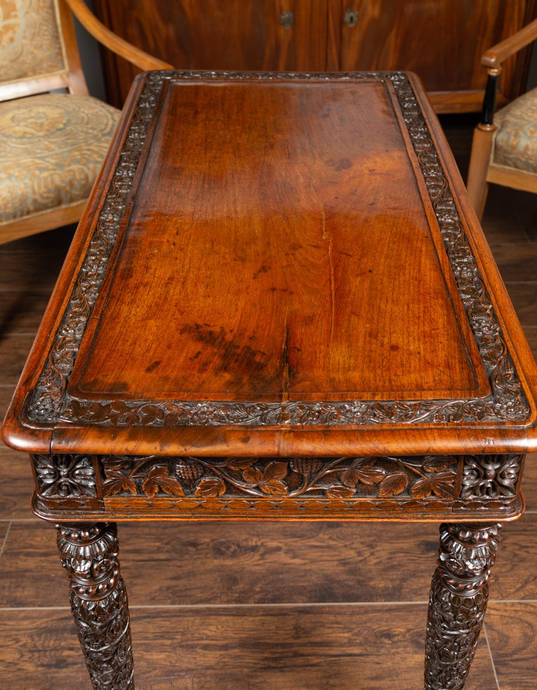 Foliage Carved 1900s Anglo-Indian Table with Two Drawers and Turned Legs For Sale 5
